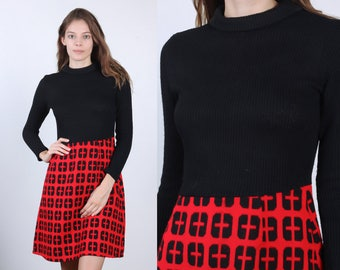 70s Mini Dress // Vintage Mod Black Red Knit Turtleneck Dress - Extra Small XS