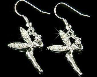 Swarovski Crystal Clear Fairy Tink Cute TINKERBELL pixie Angel Wings Pierced Earrings Christmas Gift new