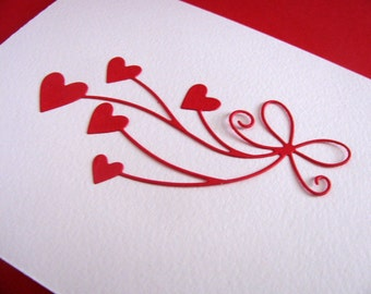 Ribbon of Hearts on Creamy Ivory Card / Ribbon of Hearts in Red or YOUR Choice of Colour / Made to Order