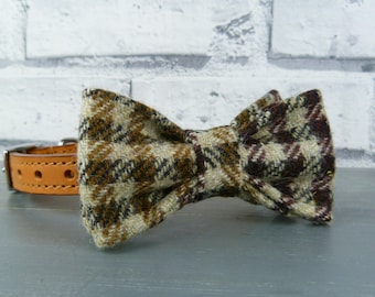 Dog Bow Tie - Yorkshire Plaid Tweed, Tweed Bow Tie for Dogs