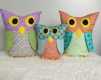 Owls, plushie, stuffed toy, fiber art, collectible