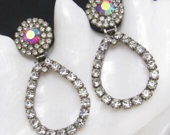 Vintage Long Rhinestone Hoop Earrings Hinged Red Jewelry