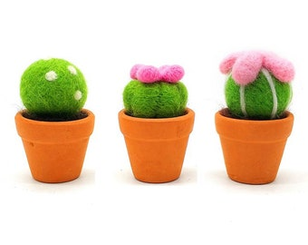 3 Pack Cactus Felting Kits With Argil Base to Help You Be a Happy Felter
