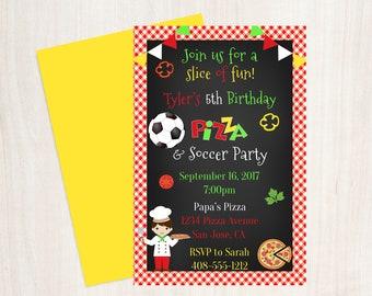 Pizza Party Birthday Invitation, Boys Pizza Party Invite, Soccer Birthday Invitation, Soccer & Pizza, Italian Pizza, Chalkboard Pizza Invite