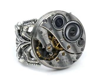Antique 1917 Elgin Watch Movement Steampunk Ring