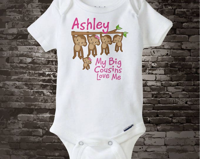 Personalized My Big Cousins Love Me Onesie or Tee Shirt with cute little monkeys for 5th cousin 11062014d