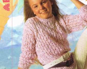 Girl's Round Neck Sweater Jumper Pullover - Size 56 to 76 cm (22 to 30 inch) - Patons Sea Spray 8389 - Vintage Knitting Pattern
