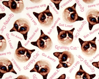 Cream Grumpy Cat Cotton Fabric
