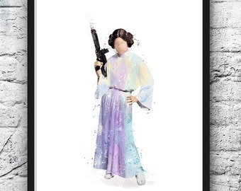 Star Wars Princess Leia Poster Princess Leia Art Kids Decor Wall Decor Nursery Decor Kids Room Decor Home Decor Watercolor Art - 483
