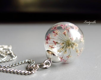 Necklace - Queen Anne's lace (dill) flowers in glass ball, new generation
