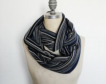 Infinity Scarf, Black and Royal Stripe Scarf, Fashion Scarf