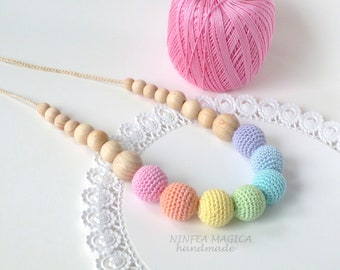 Rainbow Breastfeeding Necklace fo new mom, teething necklace, First baby toys, gift for pregnant friend, gift for new baby girl, baby wear