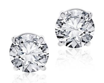 1.55 Carat Round Brilliant Cut Diamond Stud Earrings F-G/VS2 14K White Gold
