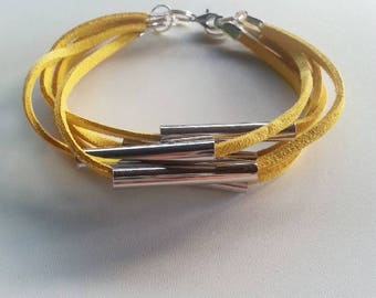 Yellow Faux Leather Bracelet With Tube Beads