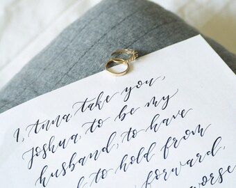 Hand Written Wedding Vows | Calligraphy | Personalised | His and Hers