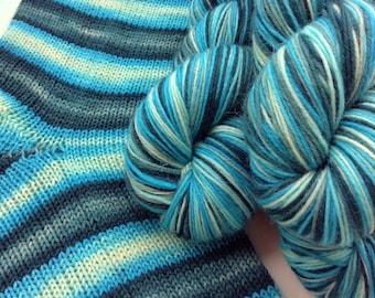 Hand dyed self striping sock yarn - Frostbite