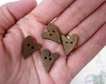 Wooden Buttons - Heart Shaped Dark Wooden Buttons - Pack of 10 - Curly Heart Buttons