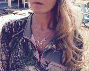 Antler Necklace with Initial, Antler Jewelry, Initial Necklace, Deer Antler Necklace, Christian Jewelry, Outdoor Jewelry, Hunting Necklace