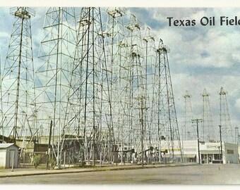 1960s Chrome Postcard- Typical Oil Field Scene, near Kilgore and Longview, Gregg County, Texas, TX. ~ Free Shipping