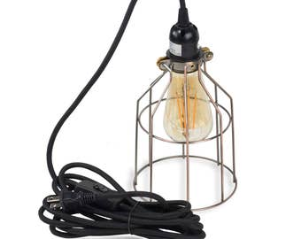 Pendant Lighting by Rustic State -  Authentic Vintage Lights Includes 15 feet Plug-in Fabric Cord with Toggle Switch and LED Edison Bulb