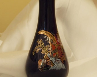 Blue Chinese Patterned Bud Vase