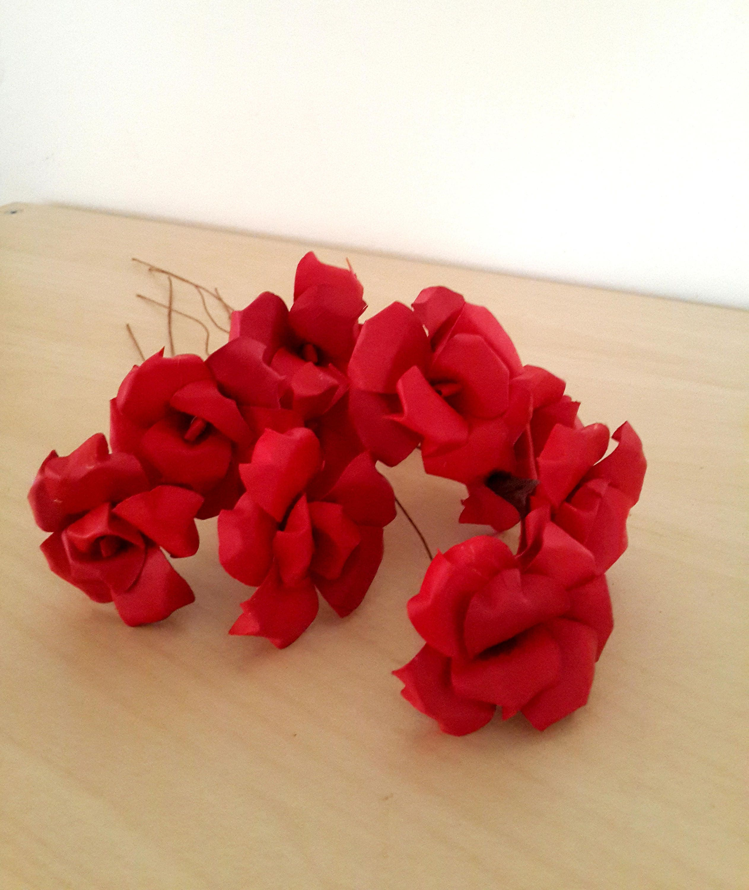 10 Bright Red Wooden Flowers, Red Wood Flowers, Wood Flower Bouquet ...