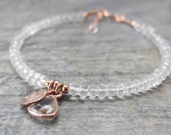 Rose gold Crystal bracelet Clear Quartz bracelet April Birthstone Crystal jewelry Quartz crystal bracelet Beaded bracelet April birthday
