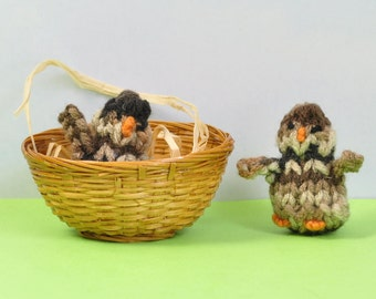 Baby chicks in various shades of brown - hand knitted baby chickens - Easter basket tuck in - spring birthday surprise - take along friend