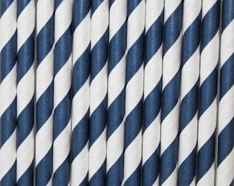 Navy Blue Striped Paper Straws