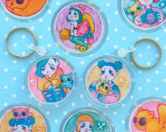 Umie & Mochi Keyrings - Japanese Harajuku girl with her cat - Drawings painted with watercolor - Super Kawaii