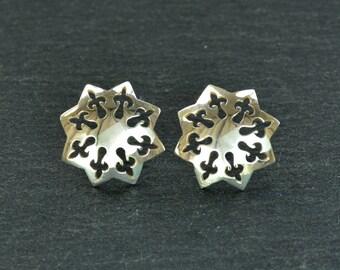 Silver Studs, Handmade Rose Window Pierced Earrings , Sterling Silver, Free Shipping