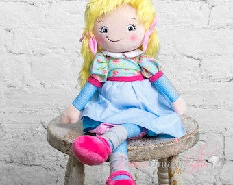 Personalised Rag Doll / Blond Doll / Dolls for Girls / Soft Dolls / Doll Bear / Doll for Baby Girls / Doll for Gift / First Birthday Gift