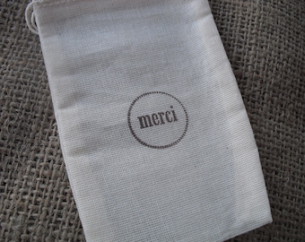 SET OF 10 Merci Muslin Favor Bags Gift Bags or Candy Bags - Item 1133
