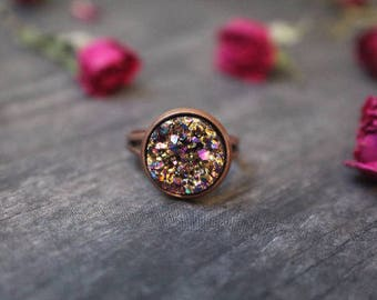 BUY 3 GET 1 FREE Beautiful Pink Gold Druzy Crystal Ring 12mm Great Gift
