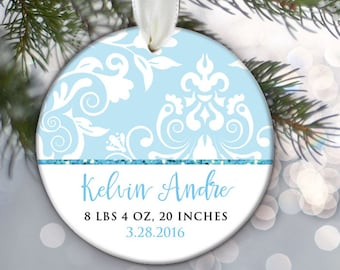 Personalized Christmas Ornament Baby Birth Stats Boy Baby Shower Gift New Baby Ornament Newborn Gift Baby Keepsake Blue Chevron Damask OR492