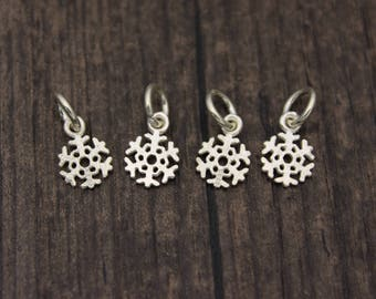 4pcs- Sterling Silver snowflake Charm,Sterling silver snowflake pendant,Christmas charm,Winter charms