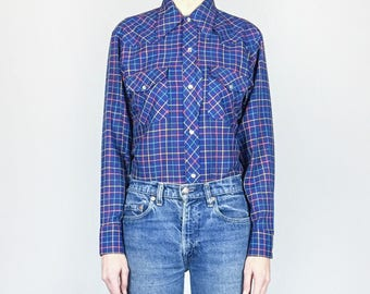 1970s Blue Check Plaid Western Pearl Snap (M)