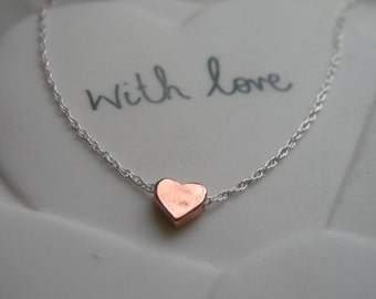Rose Gold Heart & Sterling Silver Necklace