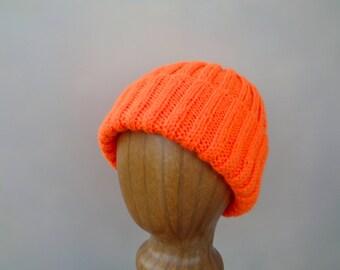 Neon Orange Hat, Hand Knit, Wool Blend, Teens Men Women, Watch Cap Beanie, Hunter Safety Jogger Biker
