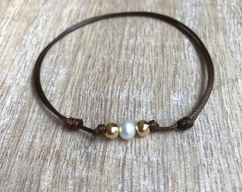 Gold Beaded Anklet, Waxed Cord Anklet, Brown Pearl Anklet, Adjustable Anklet, Waterproof WA001494