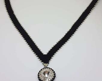 Diagonal peyote necklace V shape with Crystal pendant