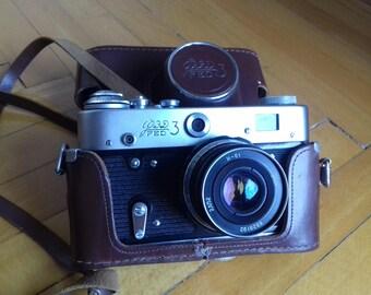 Vintage Rangefinder Camera FED-3 with lens Industar-61 in original leather case