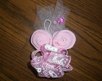 Baby Dusche Corsage Hand Made Rosa mit rosa Trim oder Any Color oder Willen Benutzerdefiniert machen