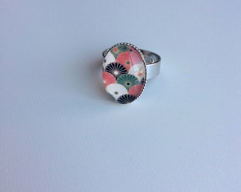 Adjustable silver ring oval blossoms red green white black cabochon