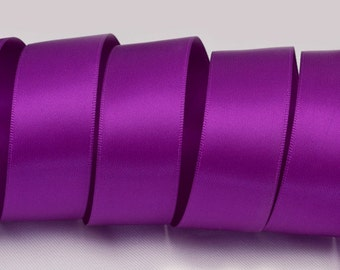 "Eggplant Purple Ribbon, Double Faced Satin Ribbon, Widths Available: 1 1/2"", 1"", 6/8"", 5/8"", 3/8"", 1/4"", 1/8"""