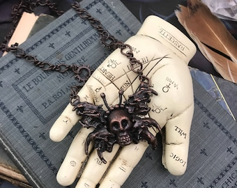 SPRING CLEAN SALE Memento Mori Death Moth Copper Electroformed Bones Necklace | One of a Kind Goth | Occult Gift for Her