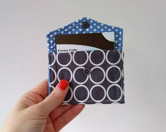 Business card case, credit card holder, loyalty card holder, fabric business card holder in grey circles