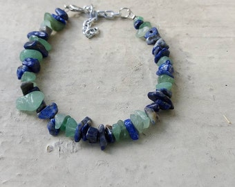 Lapis Lazuli and Green Aventurine Bracelet For Self Expression and Growth