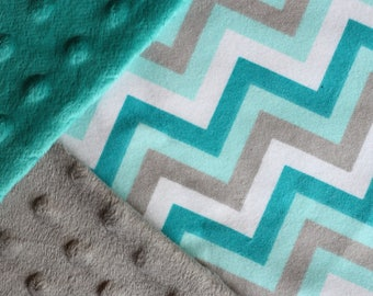 Teal and Gray Chevron Baby Blanket