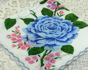 Vintage Hankie Huge Blue and White Flowers  #D-40